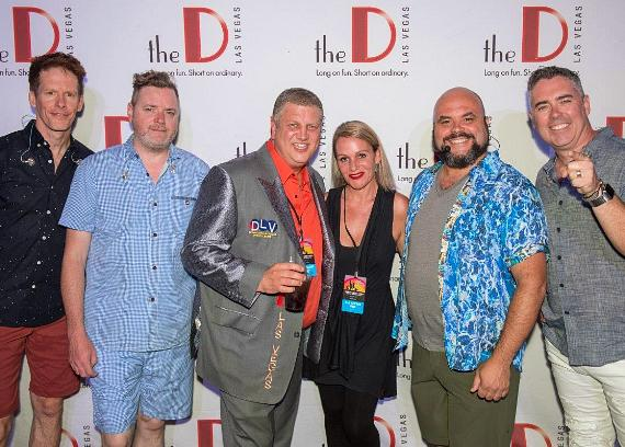The D Casino Hotel Owner Derek Stevens with wife Nicole Parthum and Barenaked Ladies DLVEC Las Vegas
