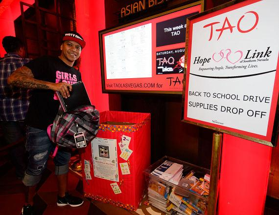 DJ Chuckie donates to Back to School Drive at TAO Nightclub