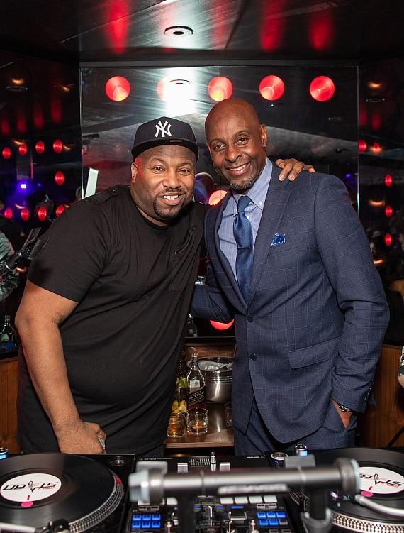 DJ Mell Starr and Jerry Rice at On The Record