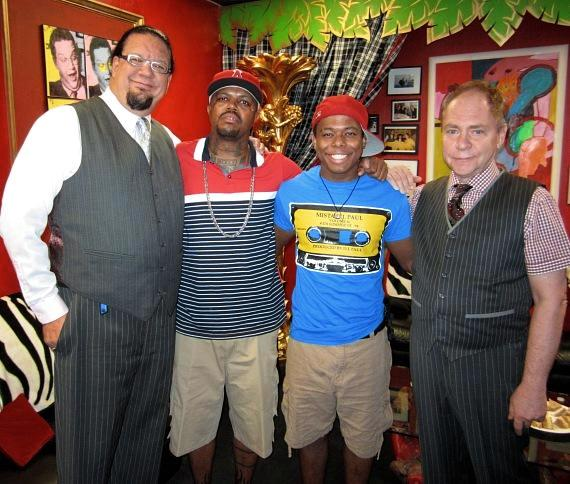 Penn & Teller with musician DJ Paul of Three 6 Mafia and his son, Nautica