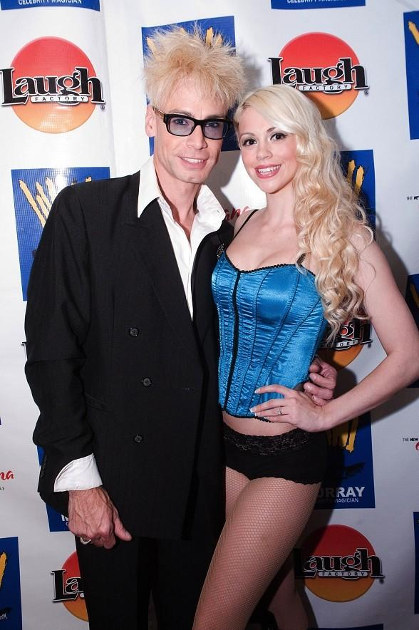 Comedy magician Murray SawChuck with assistant Chloe Louis Crawford