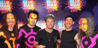 Backstreet Boys Brian Littrell, AJ McLean and Actor/Musician Kevin Costner Attend Blue Man Group Las Vegas