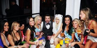 Joey Fatone with Tropic Beauty Model World Finals Contestants