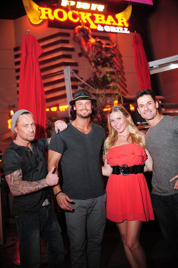 Cast members of Thunder from Down Under with co-host Christina