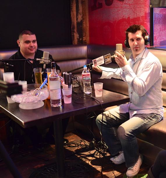 Robert Blasi and hypnotist Marc Savard at PBR Rock Bar