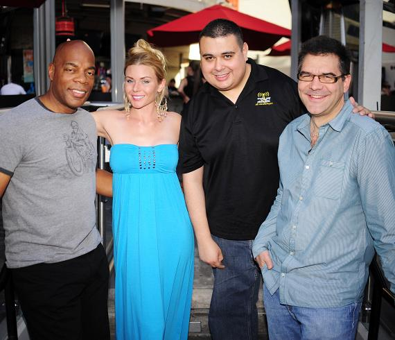 "Alonzo Bodden, Christina ""CC"" Christensen, Robert Blasi and John Katsilometes at PBR Rock Bar in Las Vegas"