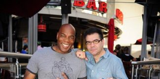 Alonzo Bodden and John Katsilometes at PBR Rock Bar in Las Vegas