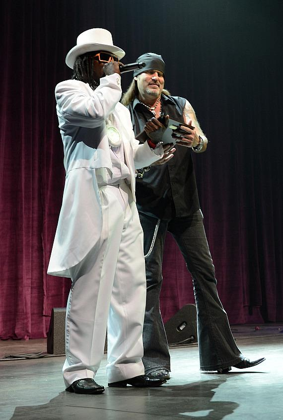 Rapper Flavor Flav and television personality and singer Danny Koker perform during The 5th annual Vegas Rocks! Magazine Music Awards at The Pearl Concert Theater