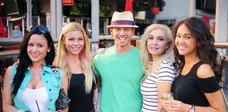 Ian Ziering with co-host CC and friends at PBR Rock Bar in Las Vegas