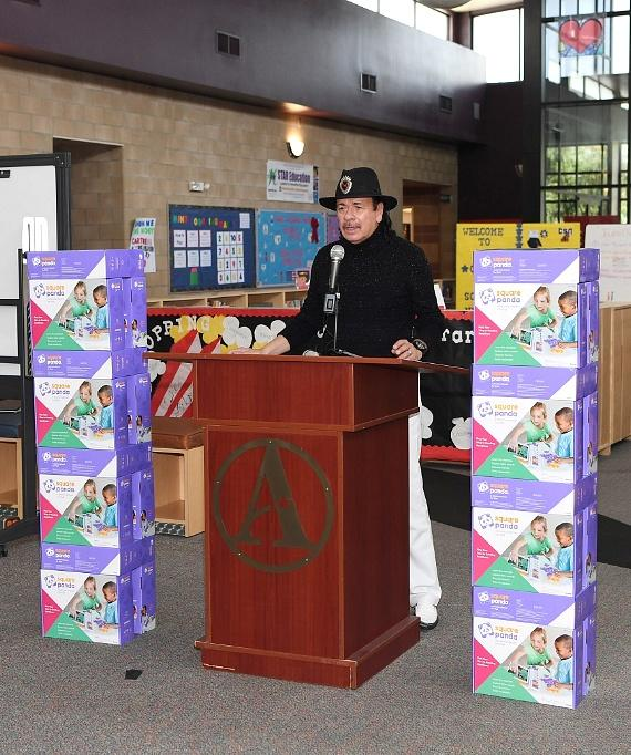 Carlos Santana speaks to audience at Andre Agassi College Preparatory Academy