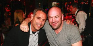 Dana White (right), president of the Ultimate Fighting Championship (UFC) and friend at Playboy Club