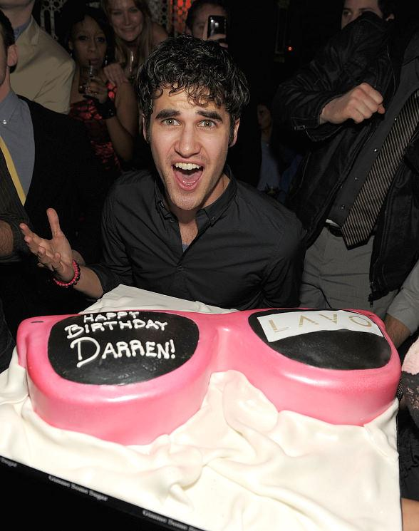 Darren Criss with birthday cake at LAVO