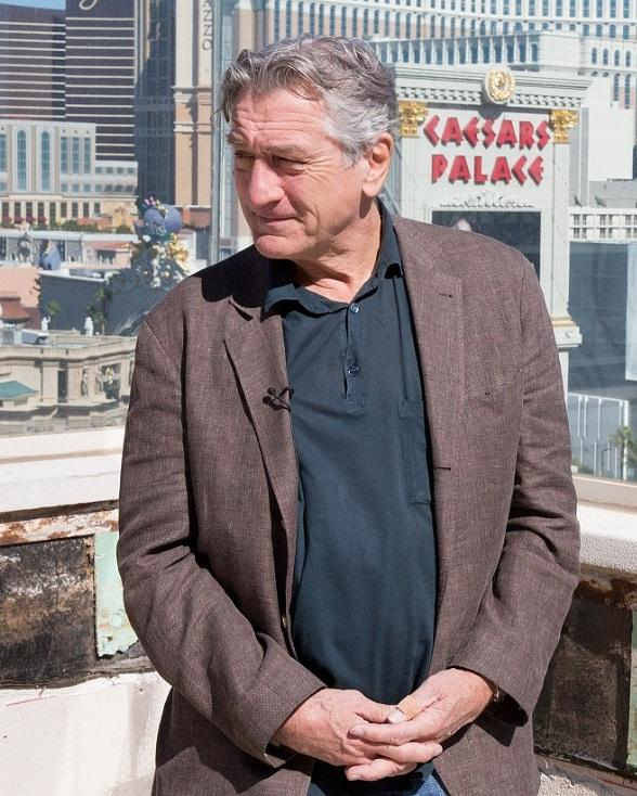 De Niro takes in the breathtaking views from the terrace of the soon-to-open Nobu Nobu Hotel Villa at Caesars Palace, 150 feet above the Las Vegas Strip