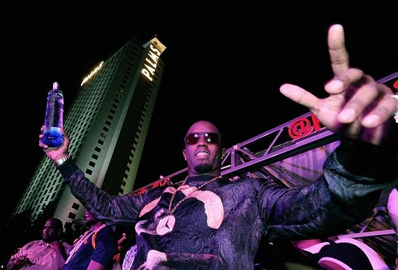 "Diddy poses on the red carpet at ""Fight Night After Party"" at Palms Pool inside Palms Casino Resort in Las Vegas"
