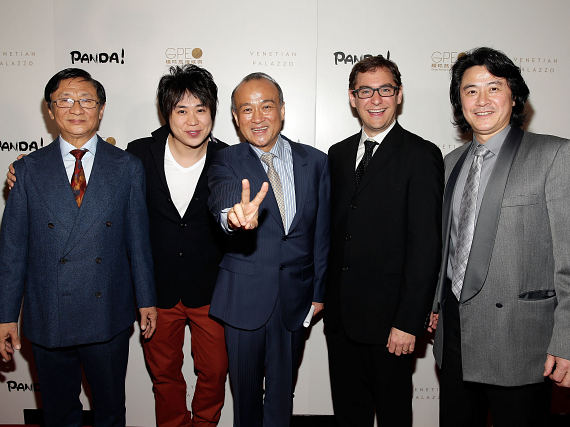 Director An Zhao (center) and PANDA! creative principals at world premiere of PANDA!