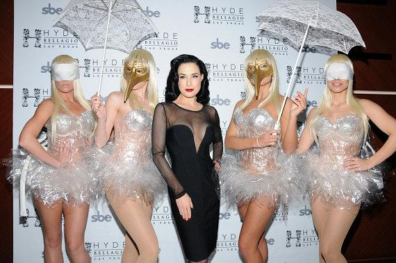 Burlesque artist Dita Von Teese with characters from Hyde Bellagio