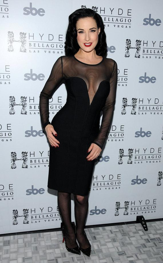 Burlesque artist Dita Von Teese on Red Carpet at Hyde Bellagio