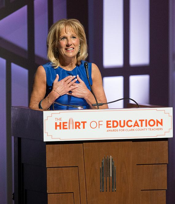 Dr. Jill Biden praises the 2017 Heart of Education Awards finalists, April 29, 2017