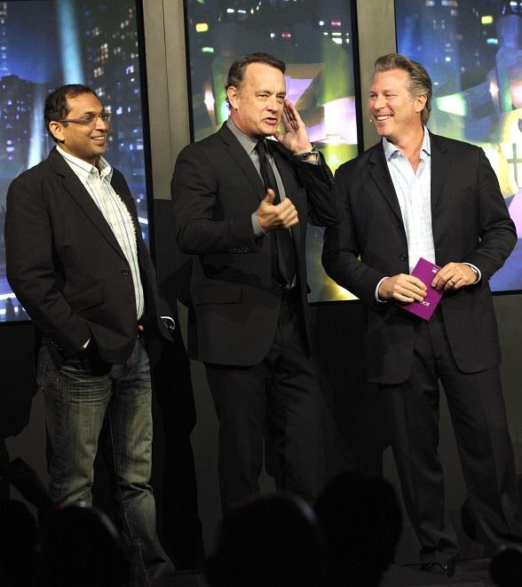 Rohit Sharma, Chief Executive Officer of the Digital Business Group at Reliance, Tom Hanks and Ross Levinsohn of Yahoo! Announce