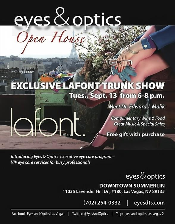 Eyes & Optics to Host Lafont Trunk Show and Open House on Tuesday, September 13