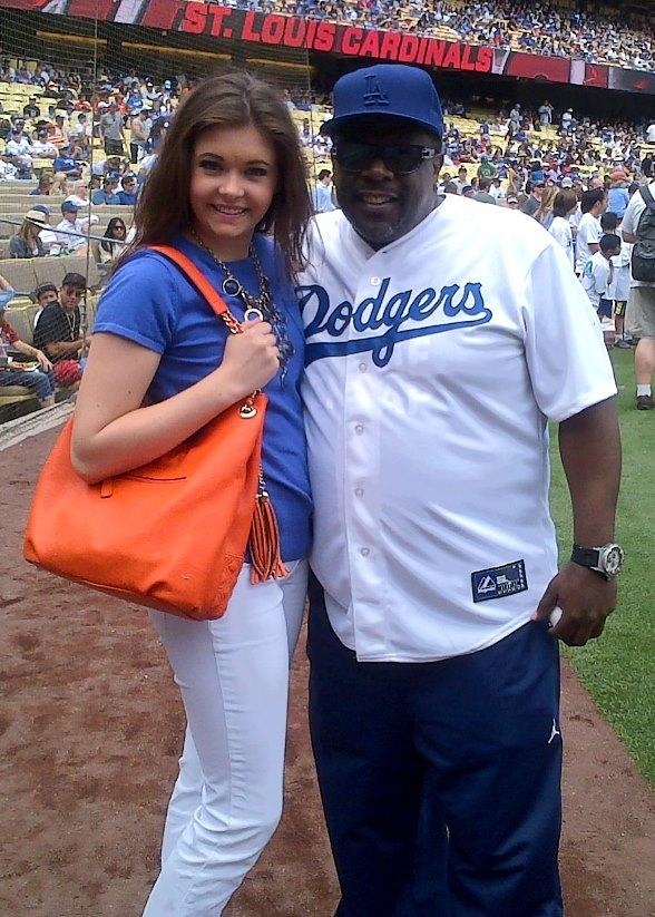 Ellie Smith with Cedric the Entertainer at Dodgers game