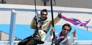 Jesse Garon and Roland August on the zipline
