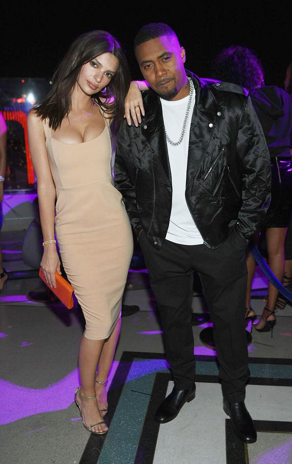 Actress Emily Ratajkowski and rapper Nas at Grand Opening of APEX Social Club at Palms Casino Resort in Las Vegas