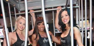 FANTASY ladies Chloe, Delecia, Tracey and Yesi (front row) caged at Rockhouse