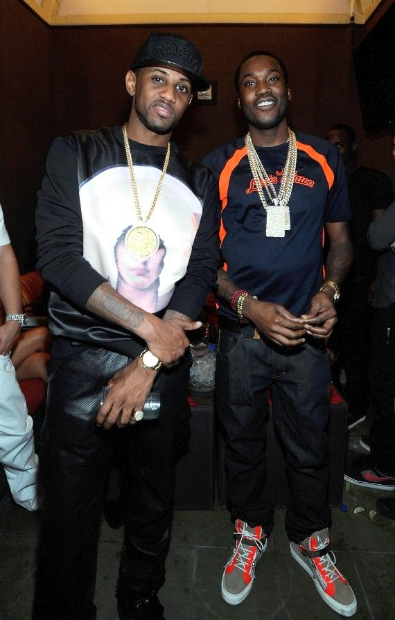 """Fabolous and Meek Mill revel in excitement at Diddy's """"Fight Night After Party"""" at Palms Pool inside Palms Casino Resort in Las Vegas."""