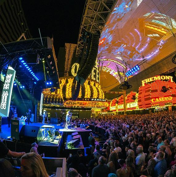 Fans gather at 3rd Street Stage for Cheap Tricks performance at Fremont Street Experience during Downtown Rocks