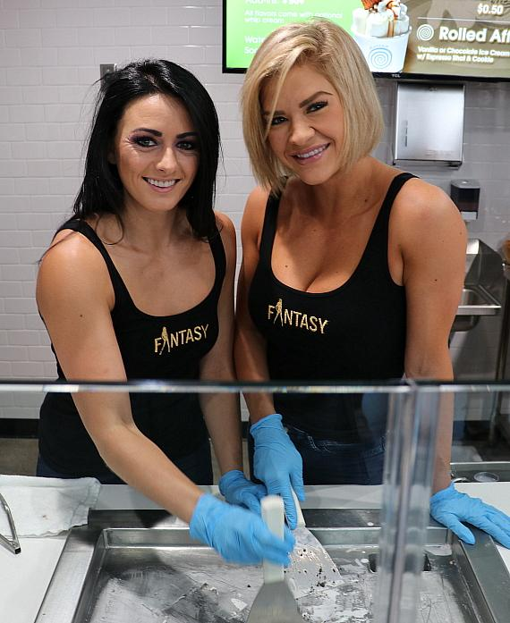 Fantasy dancers pose with rolled ice cream