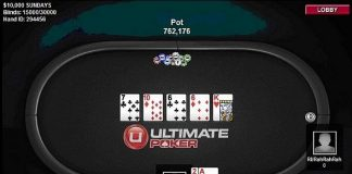 The final hand of first legal real money online poker tournament in America at Ultimate Poker
