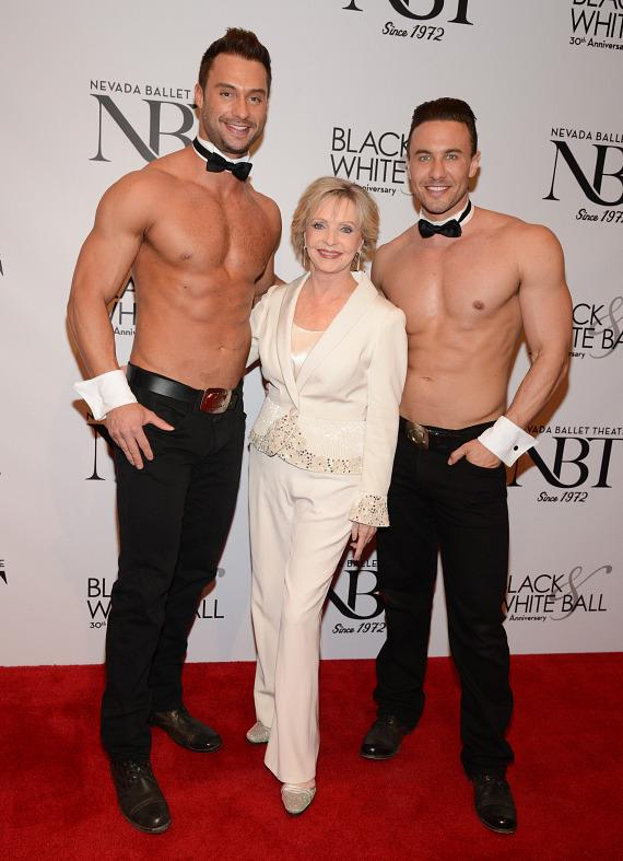 Chippendales dancers James David and Ryan Stuart help Florence Henderson celebrate her 80th birthday