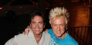 Gordy Brown with Zowie Bowie's Chris Phillips after his Fremont Street performance