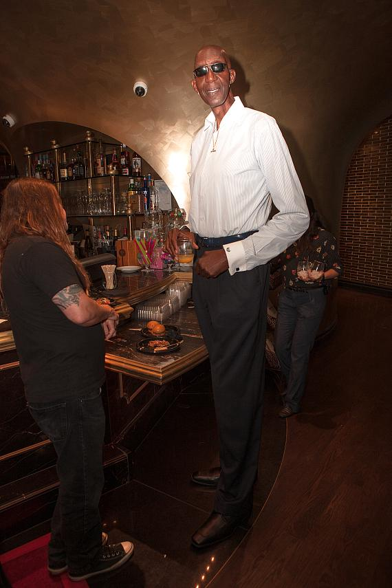 George Bell, one of the world's tallest men, celebrates Leon Spinks birthday at Sugar Factory