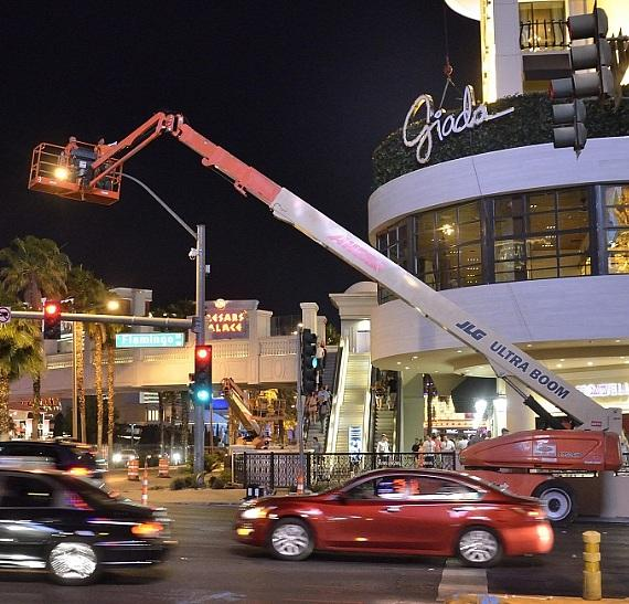 Marquee signage for GIADA is installed at The Cromwell