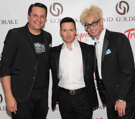 "Magician David Goldrake (center) with Planet Hollywood headliners Douglas ""Lefty"" Leferovich and Murray SawChuck"