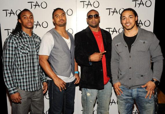 Green Bay Packers Morgan Burnett, Brad Jones, Diyral Briggs, and Nick Barnett celebrate their Superbowl victory at TAO Nightclub