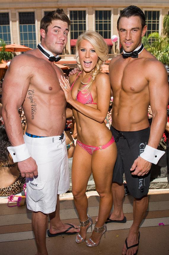 Gretchen Rossi with Chippendales at TAO Beach