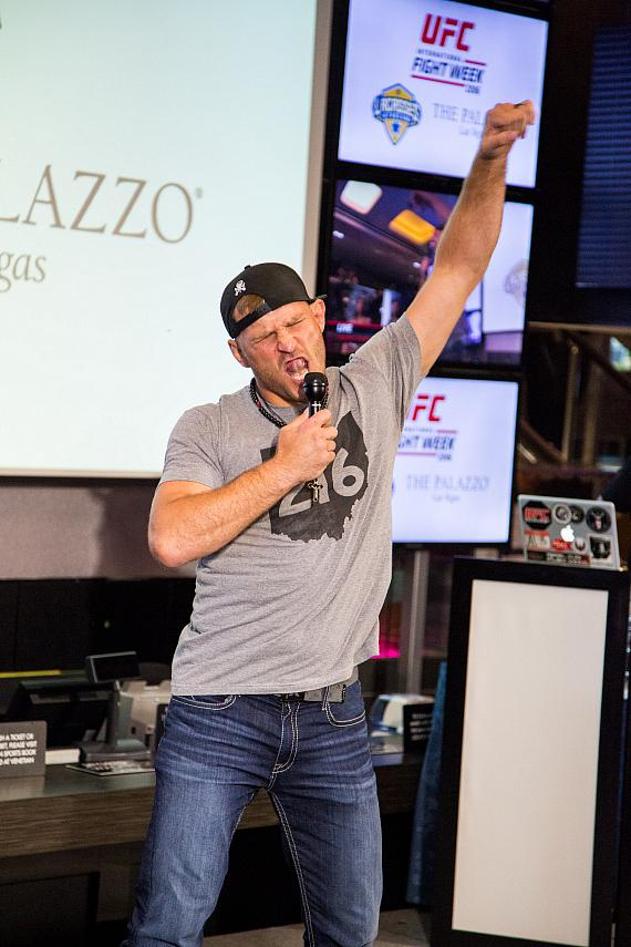 Stipe Miocic busts a move at the UFC Lip Sync Challenge at Lagasse's Stadium