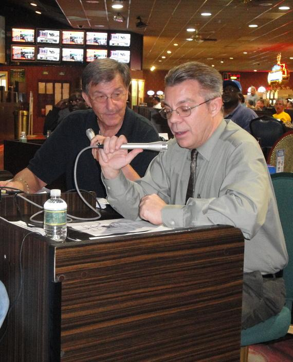 Harvey Hyde (L) and Race and Sports Book Director Mark Dufty (R) during Monday Night Football Party at the Race and Sports Book