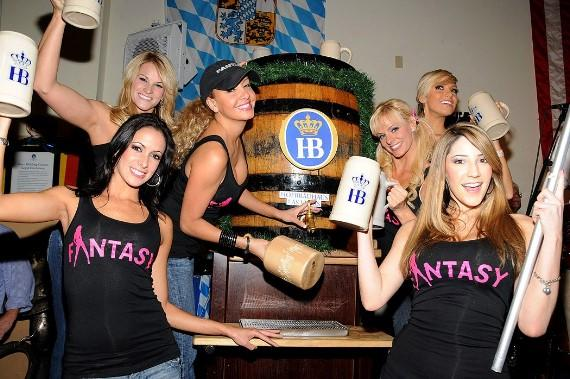 The Ladies of FANTASY tap a keg for Oktoberfest at Hofbräuhaus Las Vegas