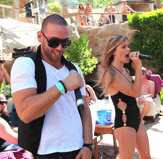 Taryn Manning performs at Revel pool party at Hard Rock Hotel & Casino