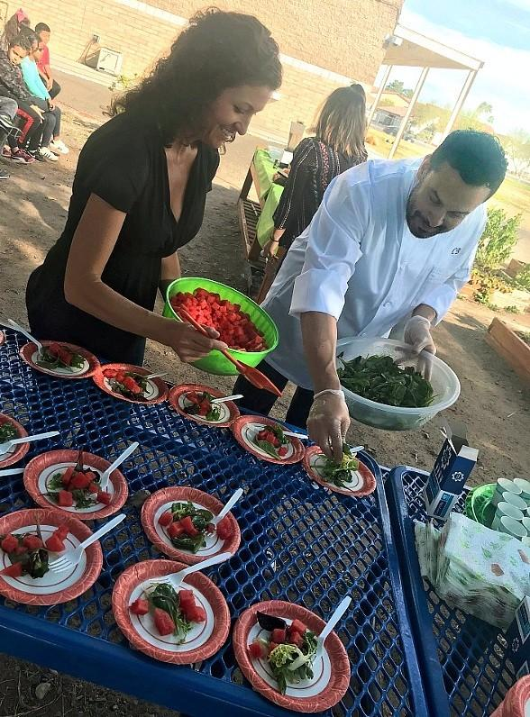 """Chef Carlos Buscaglia of Hexx Kitchen + Bar Teaches Students Healthy Recipes in """"Green Our Planet's Chef-To-School Program"""""""