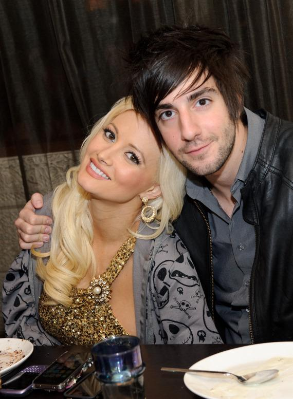 Holly Madison and boyfriend Jack Barakat pose at dinner in Lavo Restaurant in Las Vegas