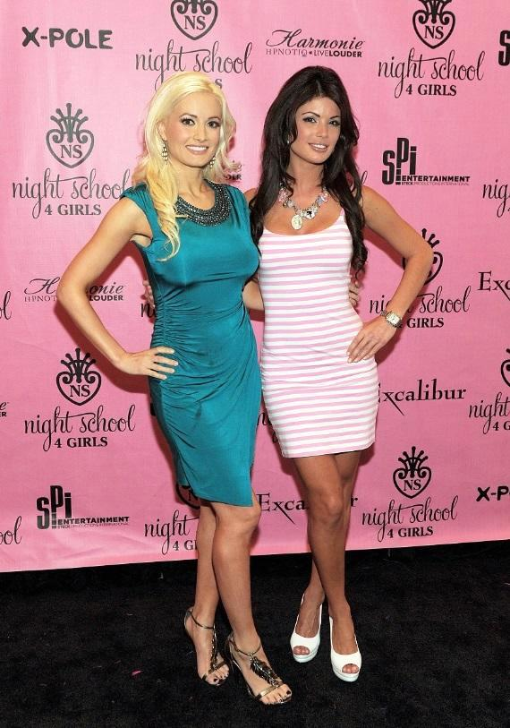 Holly Madison and Laura Croft on the black carpet