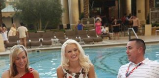 Holly Madison visits with troops