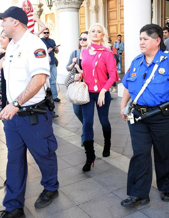 Holly Madison arrives at the Outdoor Ice Skating Rink at The Venetian and The Palazzo Las Vegas