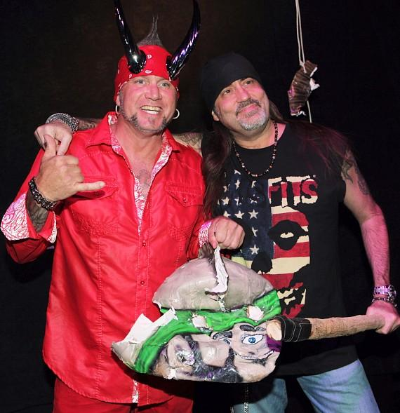 """Horny Mike with Count's Kustoms owner, Danny """"The Count"""" Koker, at Count's Vamp'd Rock Bar & Grill"""