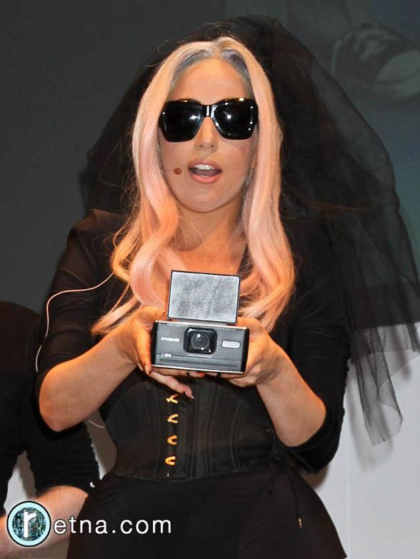 Lady Gaga in Polaroid booth at CES